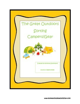 Camping themed Simple Sorting preschool and prek learning game.