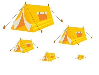 Camping themed Size Sequence activity.  Preschool learning game for daycare.