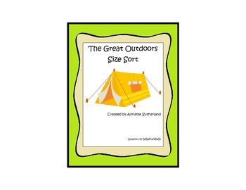 Camping themed Size Sorting educational game for preschool and Pre-K students.