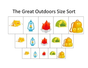 Camping themed Size Sorting educational game for preschool
