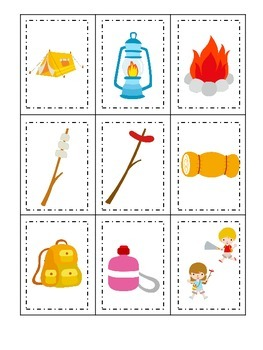 Camping themed Three Part Matching preschool learning game