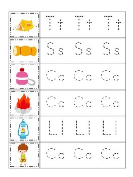 Camping themed Trace the Beginning Sound preschool and pre-k worksheet.