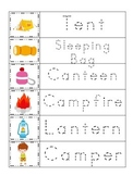Camping themed Trace the Word spelling and reading prescho