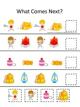Camping themed What Comes Next preschool learning game. Great for daycare.