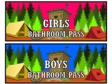 Camping themed bathroom pass