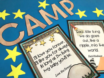 Camping themed bulletin board ~ picture book quotes