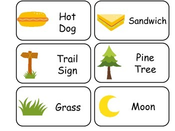Camping themed printable Picture Word Flash Cards. Preschool flashcards.