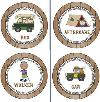 Camping themed transportantion cards