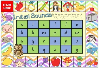 Camping with Short Vowels and Beginning Sounds - Board games