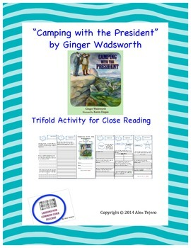 """Camping with the President"" Trifold Activity Reading Wonders 5th Grade"
