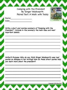 """Camping with the President"" close reading for 5th grade Reading Wonders"