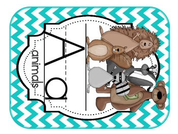 Camping/Forest Theme Alphabet Cards Chevron