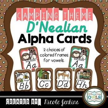 Alphabet Cards Camping Theme (D'Nealian Manuscript)