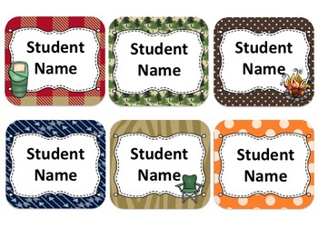 CampingThemed Student Name Cards {Editable}