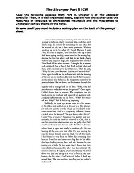 Camus' The Stranger Part II Essay Prompt