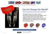 Can Art Change the World? - Witness, Social Justice, Environment, Community