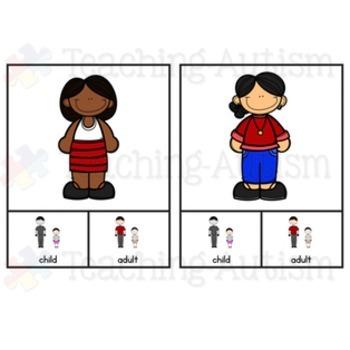 Adult v Child Sorting Categories Task Cards