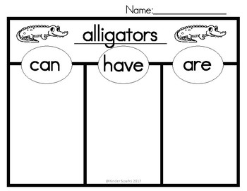 Can, Have, Are Chart- Alligators
