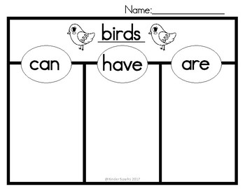 Can, Have, Are Chart- Birds