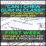 """Can I Chew Gum in Class?"" Beginning of the Year Class Rules Activity Editable"