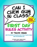 """""""Can I Chew Gum in Class?"""" PDF Beginning of the Year Class Activity"""