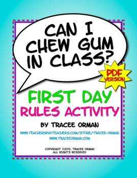 """Can I Chew Gum in Class?"" PDF Beginning of the Year Class Activity"