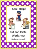 Chores Theme Kindergarten Math and Literacy Worksheets, Cut and Paste Activities