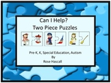 Life Skills, Can I Help Two Piece Puzzles, Kindergarten, Special Education