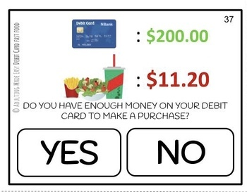 Can I Use My Debit Card? Fast Food Task Cards