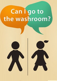 """""""Can I go to the washroom?"""" Key Phrase Poster for ESL students"""