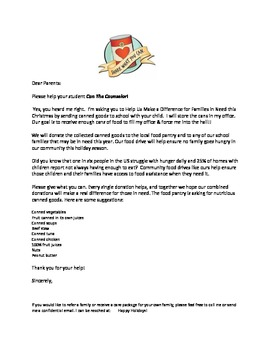 Can The Counselor Food Drive Parent Letter