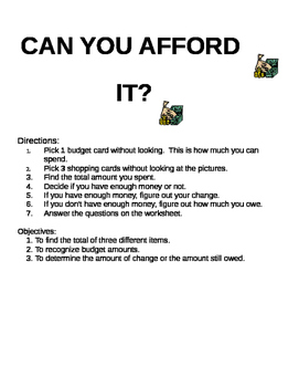 Can You Afford it? Center Activity