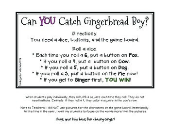 Can You Catch Gingerbread Boy Freebie