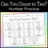 Can You Count to Ten? Number Practice Worksheet