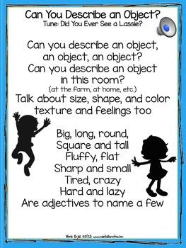 Can You Describe an Object? – Songbook Mp3 Digital Download, Describing  Words