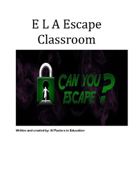 ELA Upper/Middle Grades ELA Escape Room Challenge