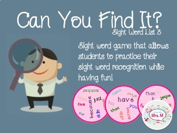 Can You Find It? Sight Word List 3