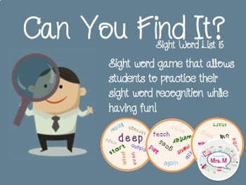Can You Find It? Sight Word List 5