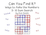 Can You Find It? Ways to Make the Numbers 5-10: A Sum Search