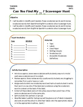 Can You Find My ... ? Scavenger Hunt and Vocabulary Study
