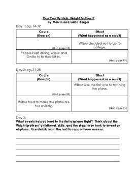 Can You Fly High, Wright Brothers? Guided Reading Plan (Level O)