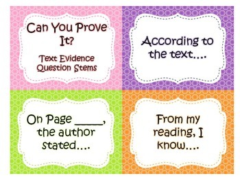 Can You Prove It Text Evidence Posters and Cards
