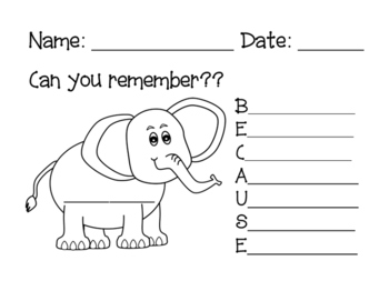 Elephant Mnemonic ... Can You Remember How to Spell BECAUSE ???