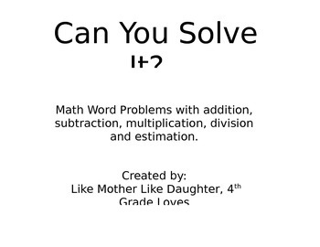 Can You Solve It? Math Word Problems