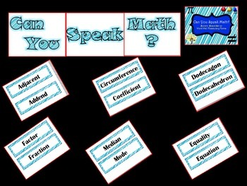 Can You Speak Math? Bulletin Board or Word Wall