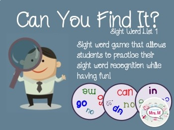 Can You Find It? Sight Word List 1