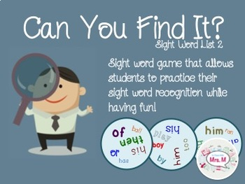 Can You Find It? Sight Word List 2