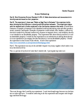 Can an egg float in water? Density Experiment Science Notebooking and PHEOCC-W