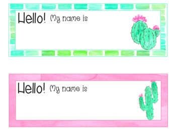 Can't Touch This Cactus Watercolor Editable Nameplates