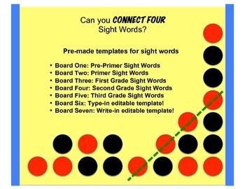 Can you CONNECT FOUR Sight Words? | TpT